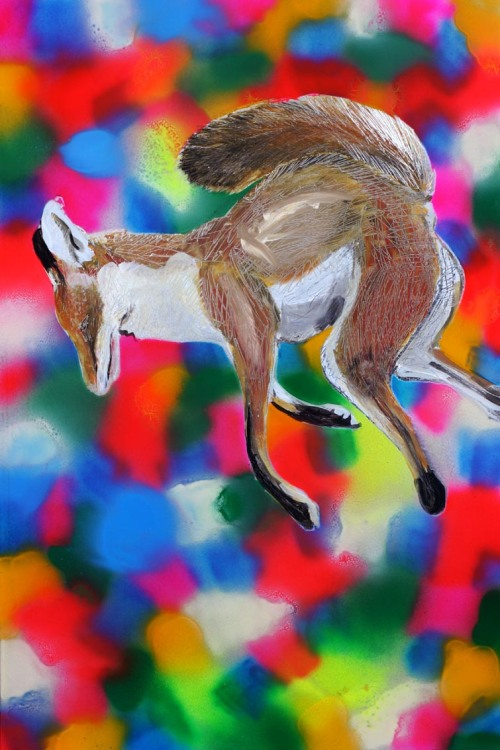 Helen Mathwin,Colourful Fox,automotive paint on aluminium, $420